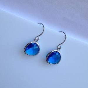 Sapphire Teardrop Earrings (Silver)..