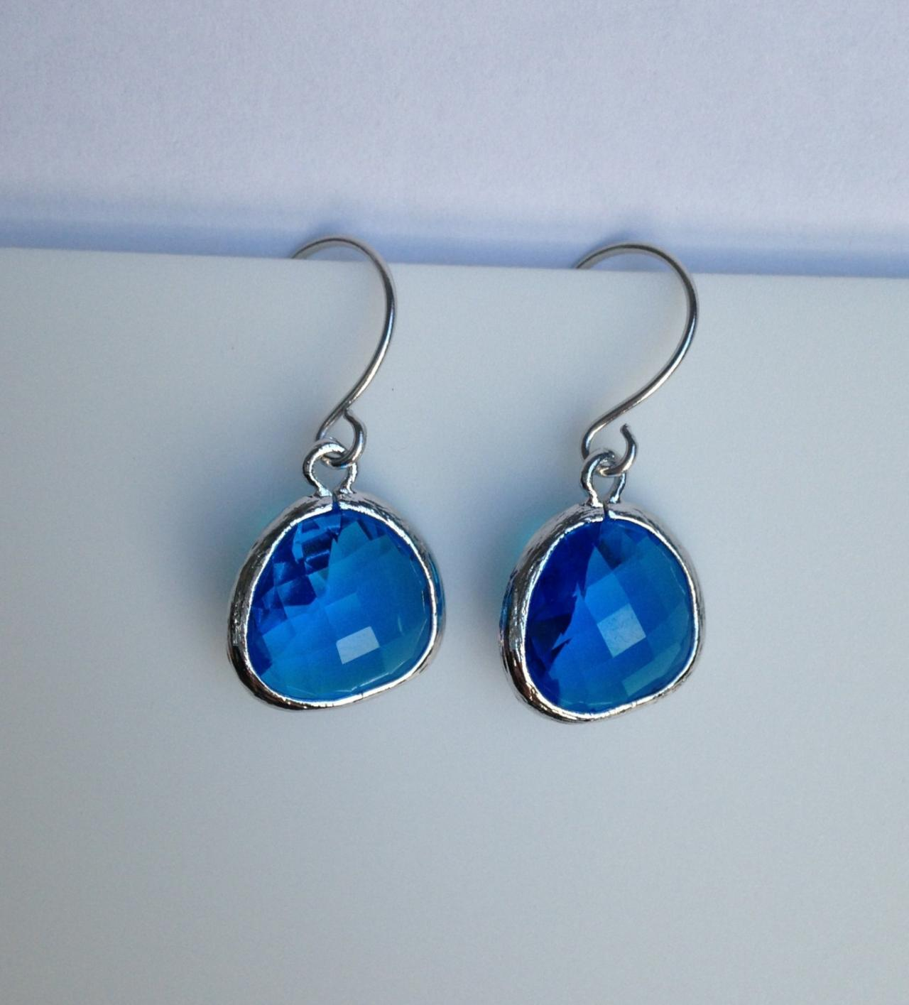 Sapphire Teardrop Earrings (Silver), Drop, Dangle, Glass Earrings, Bridesmaid Gifts,Wedding Jewelry, JEW000126